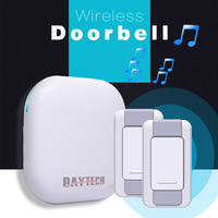 DAYETCH Wireless Doorbell Waterproof 300M Operating LED Indicator 1 Plug In Receiver 2 Remote Button With