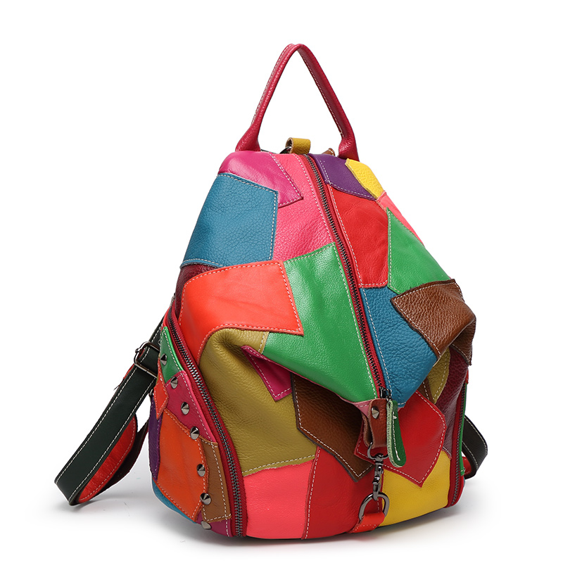 Patchwork Genuine Leather bagss girl bags for Girls School Backpacks  Teenage  Colorful Cow  BackpackPatchwork Genuine Leather bagss girl bags for Girls School Backpacks  Teenage  Colorful Cow  Backpack