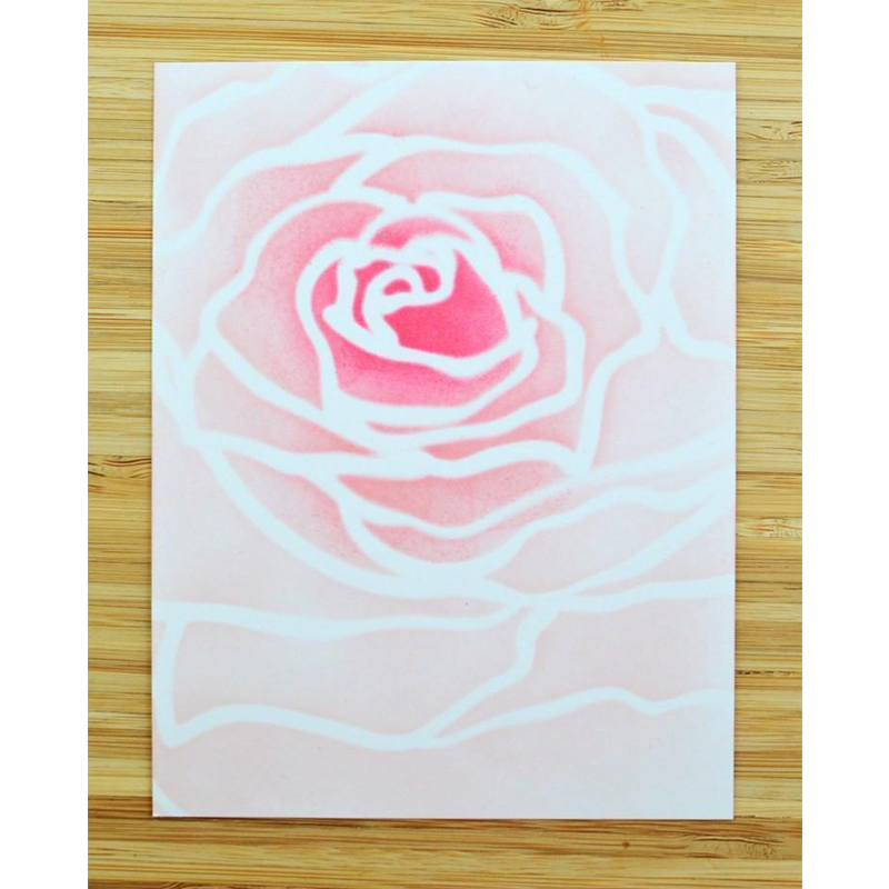 blooming rose flower plastic stencil for diy scrapbooking
