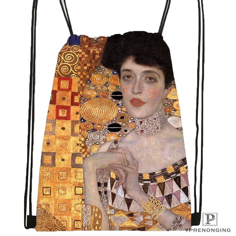 Custom Gustav Klimt #9 SoftDrawstring Backpack Bag Cute Daypack Kids Satchel (Black Back) 31x40cm#180531-02-22