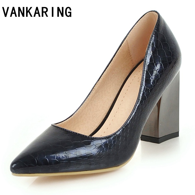Vankaring Thick High Heels Nude Pumps Sexy Print Leather Shoes Golden Silver Plus Size -3802