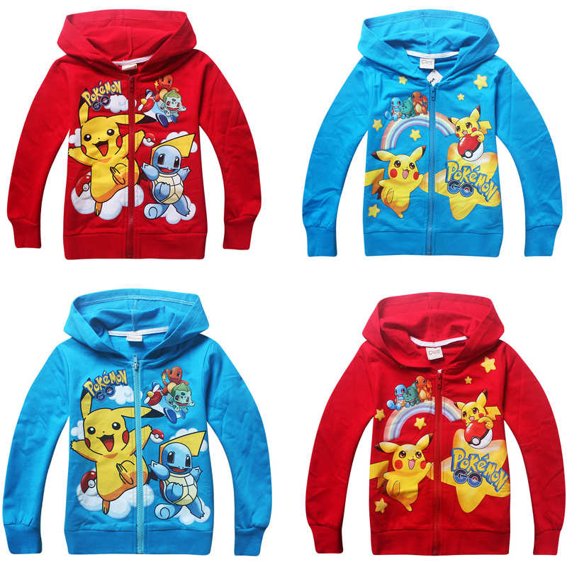 2018 kind Jongens Hoodies pikachu Rits Hoodie Childrens Sweatshirts Voor Jongens Pokemon Kids Uitloper Cartoon Tops Zip jas Kostuums