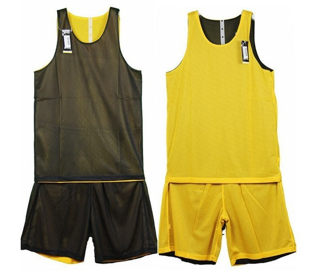 Free Shipping Basketball Jersey Black And Yellow Basic Reversible