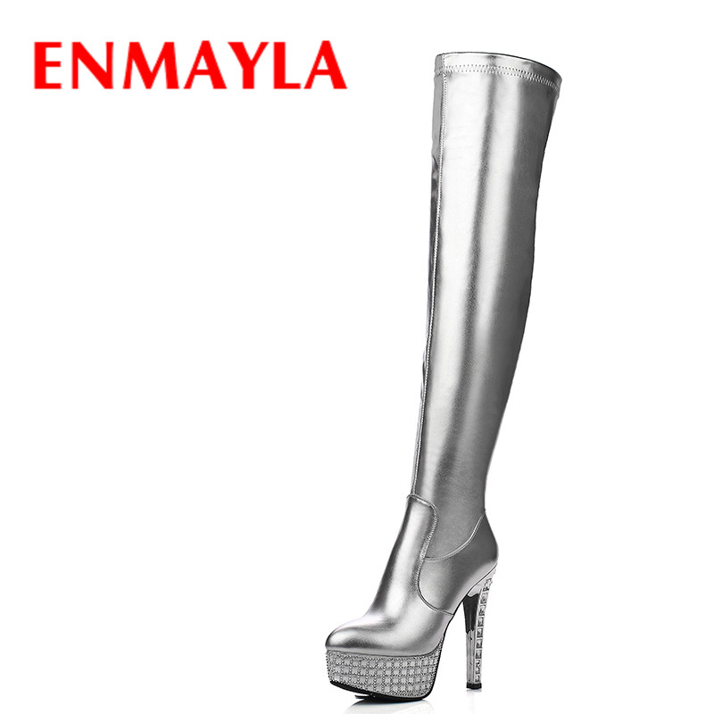 ENMAYLA Fashion Winter Crystal Thigh High Boots Women Silver Black High Heels Shoes Woman Platform Over the Knee High Long Boots