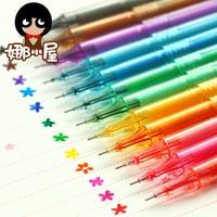 12 unids/set Nueva Lindo de la Historieta Colorido Pluma de Gel de Escritorio de estilo Coreano útiles Escolares Creativas