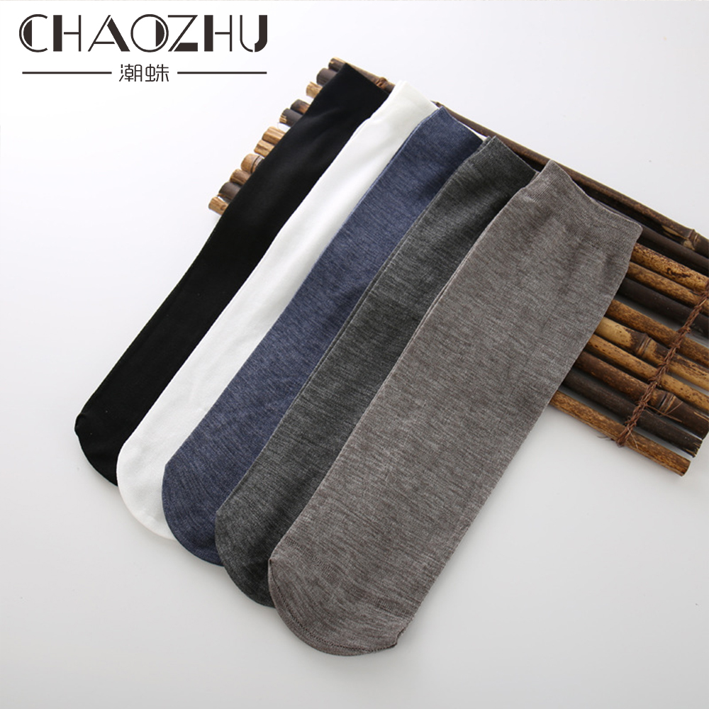 Chaozhu Men Summer Socks 10 Pairs/lot Daily Business Sheer Feet Message Gift Socks Thin Breathable Mercerized Cotton