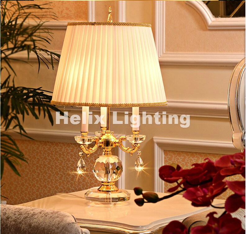 D38cm H65cm Led Moderne Luxe Golden Clear Kleur Crystal Tafellamp Europese Stijl Slaapkamer Bedlampje Verlichtingsarmatuur Lamp
