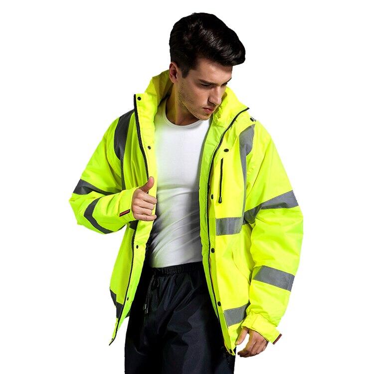 New Arrival Men's high visibility waterproof winter bomber jacket safety reflective jacket reflective parka yellow  rain coat