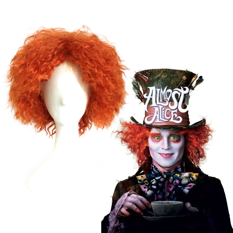 30cm Alice in Wonderland Mad Hatter/Tarrant Hightopp Orange Synthetic Hair Short Curly Cosplay Wig Halloween Costume Party Wigs
