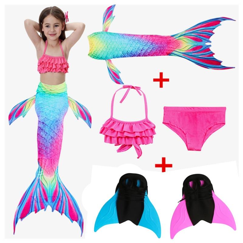 Mother & Kids 2019 New Girls Cosplay Mermaid Tails Costume Little Childrenl Mermaid Swimsuit Kids Swimwear Tail Only No Flipper