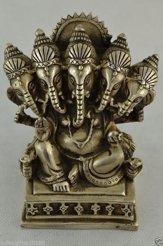 China Silver Buddhism Tibet 5 Head Ganapati Ganesh Lord Ganesha Buddha Statue 21 china bronze gild buddhism lotus flower hand kwan yin sculpture statue