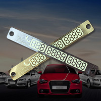 Car Parking Notification Phone Number Card Luminous Telephone Number Metallic Plate Auto Interior Tools Car Strikers