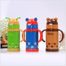 280ml Kids Vacuum Flasks With Silicone Straw Drinking Water bottle Stainless Steel Children Thermos Bottle Feeding cup(China)