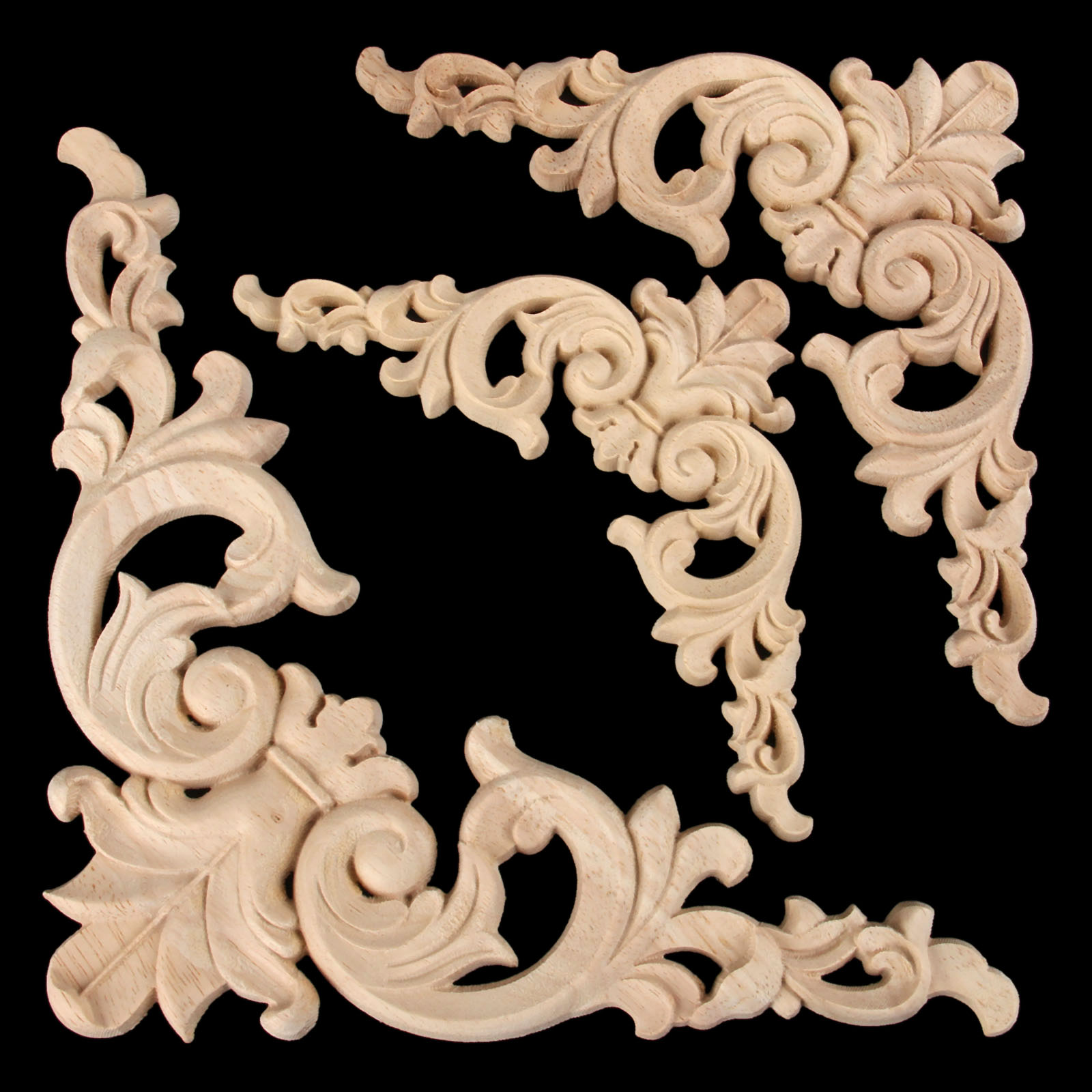 1Pc Woodcarving Decal Corner Applique Frame Door Decorate Wall Doors Furniture Decorative Figurines Wooden Miniatures