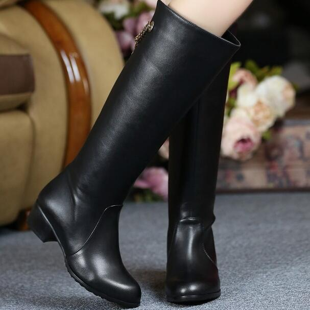 Women Winter Genuine Leather Low  Heel Round Toe Chains Fashion Knee High Boots Plus Size 33-45 SXQ1007 nayiduyun new fashion thigh high boots women genuine leather round toe knee high boots high heel party pumps casual shoes