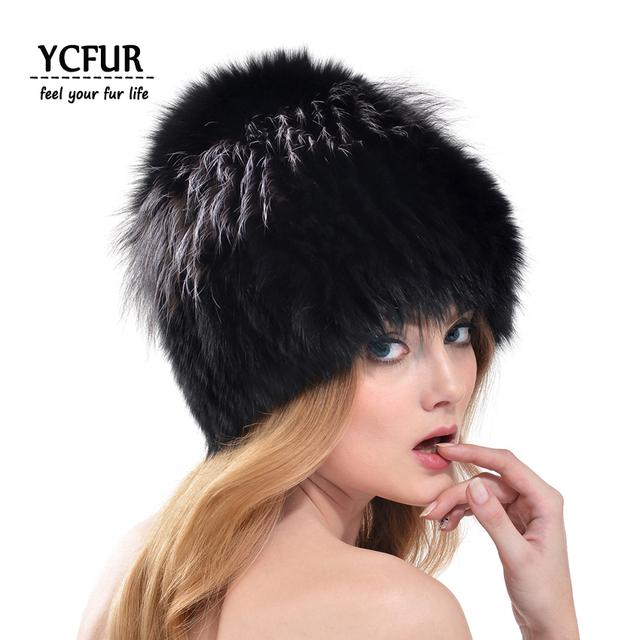 2016 Mulheres de Design Da Marca Fur Gorros Tampão Do Inverno Chapéus de Malha de Inverno Natural Fox Fur Real Fox Fur Caps Feminino YH171