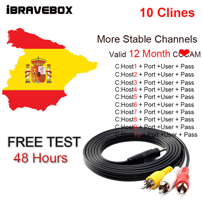 Spain Europe Portugal 12month 7 Clines Cccam Newccam For DVB-S2 Satellite Receiver Via Wifi Dongle High Quality Stable
