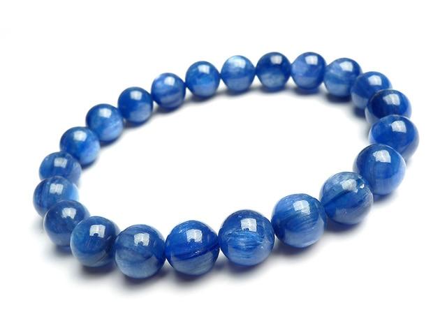 Wholesale 8mm Natural Blue Kyanite Cat Eye Crystal Round Bead Bracelets For Women Mens Stretch Charm Bracelet