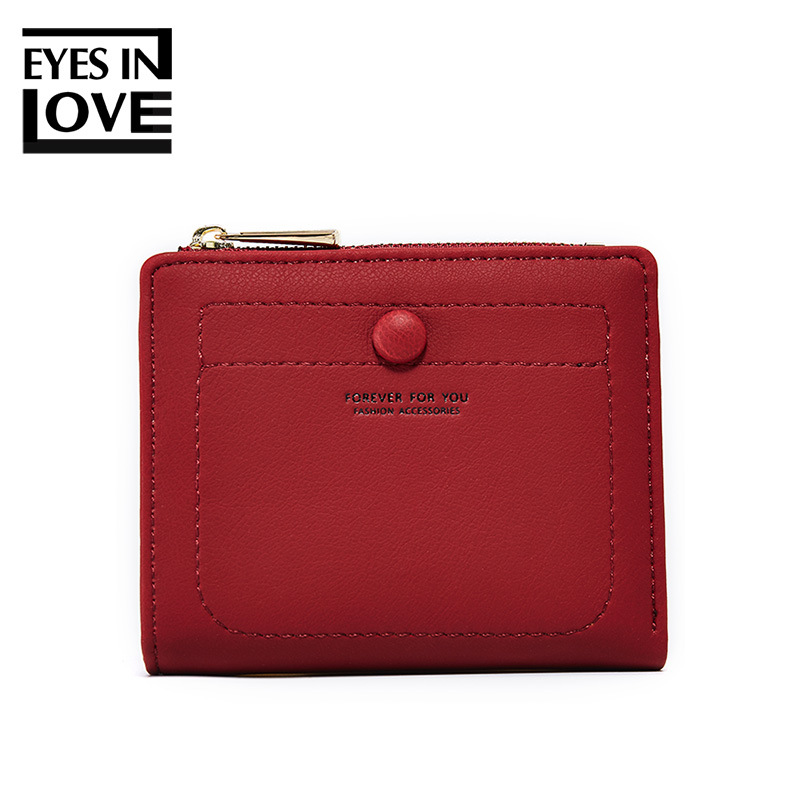 EYES IN LOVE Short Women Wallet with Zipper Coin Pocket Card Holder Brand Ladies Purse Pu Leather Small Wallets Female Cartera
