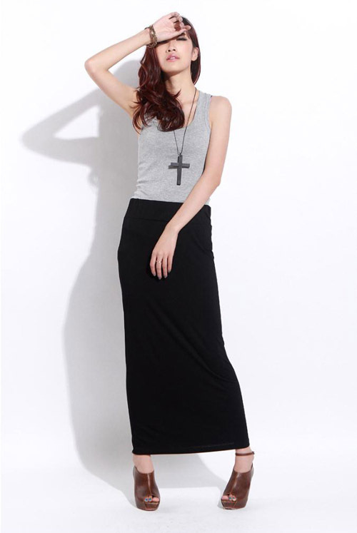 Black Pencil Maxi Skirt - Dress Ala