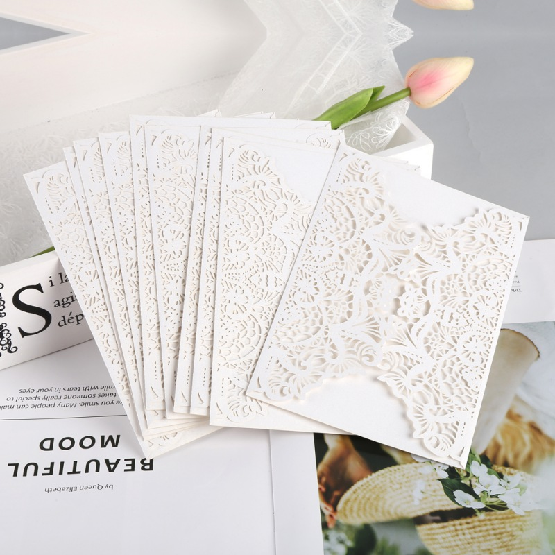 10 pcsset vertical laser cut butterfly invitations cards kits for wedding bridal shower christmas gift greeting card white