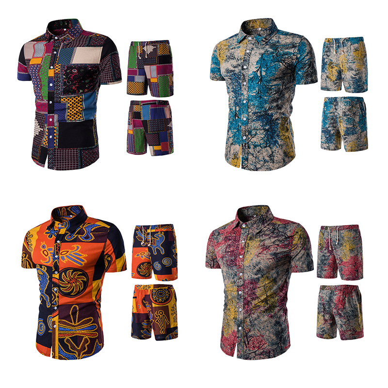 Floral Vintage Set Men Beach Vacation Suit Summer Plus Size Shirts + Board Fitness Short ...