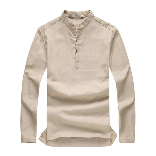 Homens verão mandarim collar pullovers shirt eco orange respirável solto manga comprida casual camisa de linho tamanho m