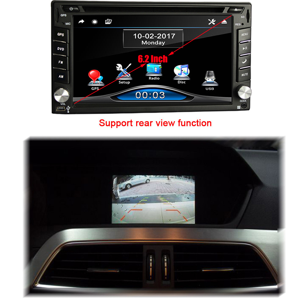 2 Din Car dvd gps player HD Support reversing rear view Bluetooth USB SD CD radio 88888