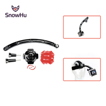 цена на SnowHu For 360 Degree Rotating Helmet Mount + Extension Arm+3M Adhesive Sticker For Gopro Hero 7 6 5 4 For XIaomi Yi SJCAM GP113