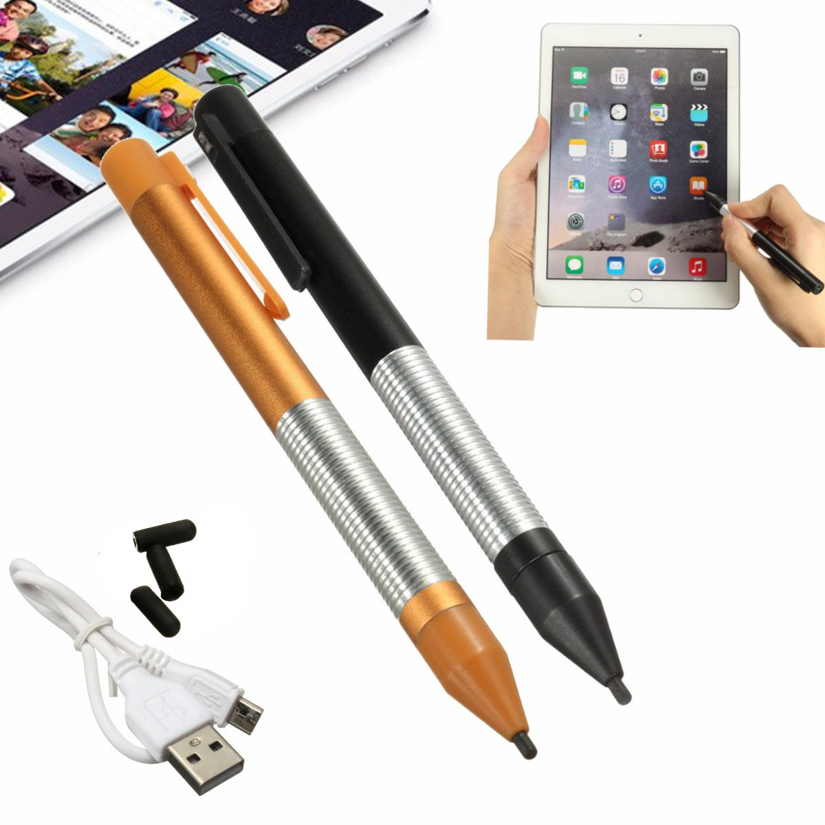 Universal 2.4mm Fine Tip Active Capacitive Touch Stylus Pen Pencil Aluminum Alloy Drawing Pencil For IPad Android Tablet Phone