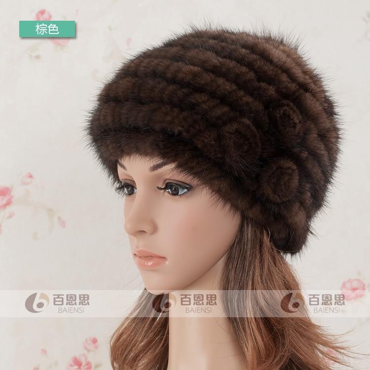 5606e089d31cf Women Winter Mink Hat Knitted Beret Thermal Fur Hat Winter Cap Lady ...