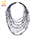 Fashion style multi layer 9-10mm real cultured baroque freshwater pearl necklace genuine leather necklace