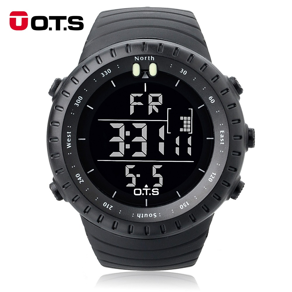 Ots luxury brand digital watch men sports watches 50m waterproof large dial clock led hours for Watches digital