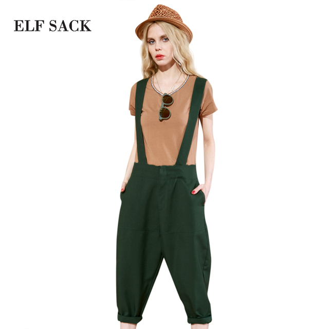 Elf SACK w smoking pipe summer female solid color all-match casual pants wide leg pants female bib pants