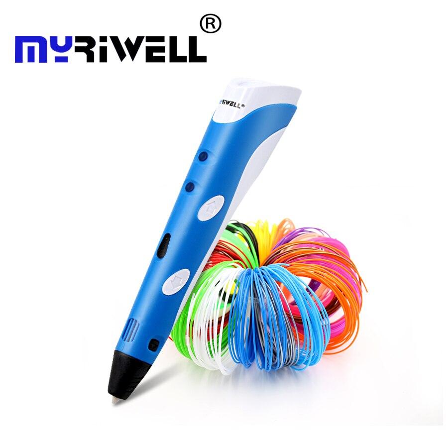 Original Myriwell 3D impresión pen1.75mm ABS Smart 3d plumas de dibujo + Free Filament + PC transparente suave dibujo 5 regalos gratis
