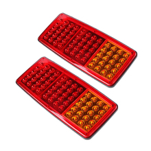 1 Pair 60 LEDs Car Rear Tail Lights Stop Brake Light Turn Signal Lamp for 12V 24V Automobiles Benz Old Steyr Red Yellow