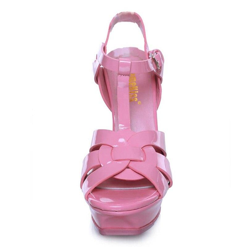 KemeKiss 2019 nowa kobieta prawdziwe skórzane sandały wysokie obcasy platformy sandały lato T pasek klamra pielenie obuwie rozmiar 33  40 w Wysokie obcasy od Buty na  Grupa 3