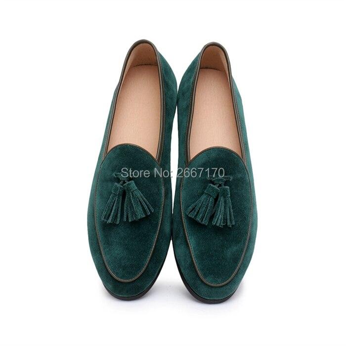 Top Kwaliteit Gentlemen Business Casual Schoenen Plus Size Slip Op Flats Man Bruin Blauw Groen Suède Tassel Loafers mannen - 4