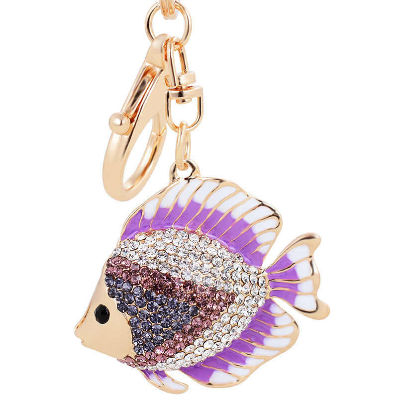 Dalaful Alta Qualidade Forma de Peixe Chaveiro Anéis Titular Cristal Goldfish Bag Pingente Para Carro Strass Chaveiros Chaveiros K267