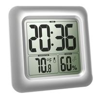 Thermometer Shower Bathroom Waterproof LCD Display Square Clock Hygrometer Large Screen