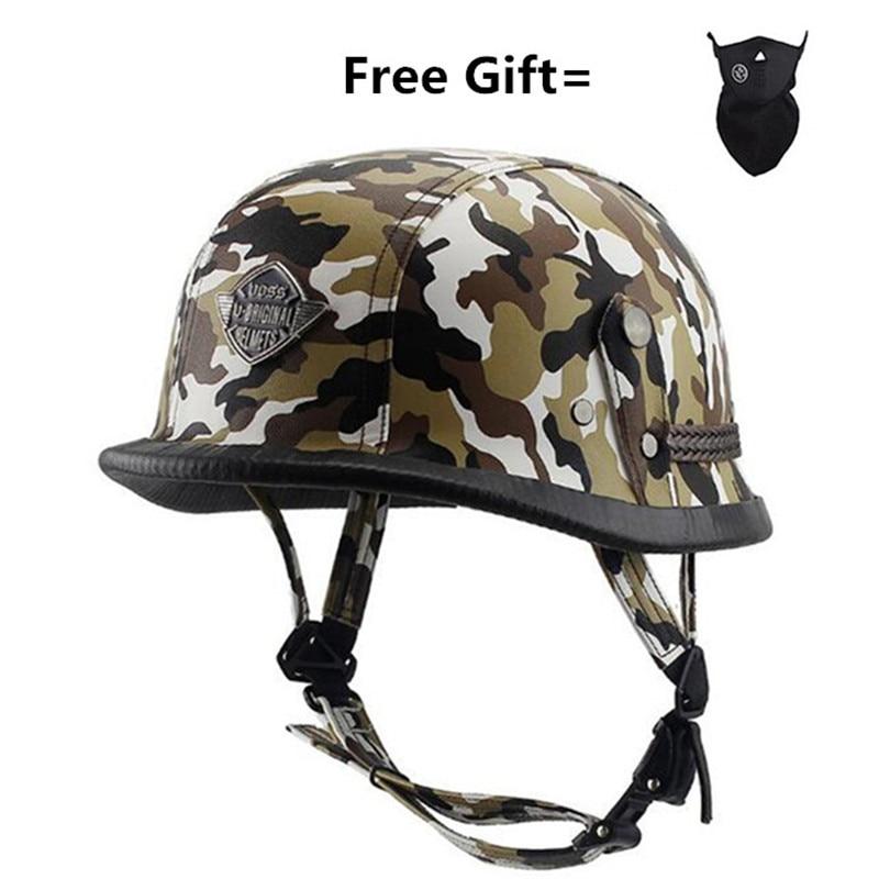 Унисекс ретро Половина мото rcycle шлемы матовый черный Немецкий Половина лица шлем Чоппер Крузер Байкер M/L/XL шлем мото