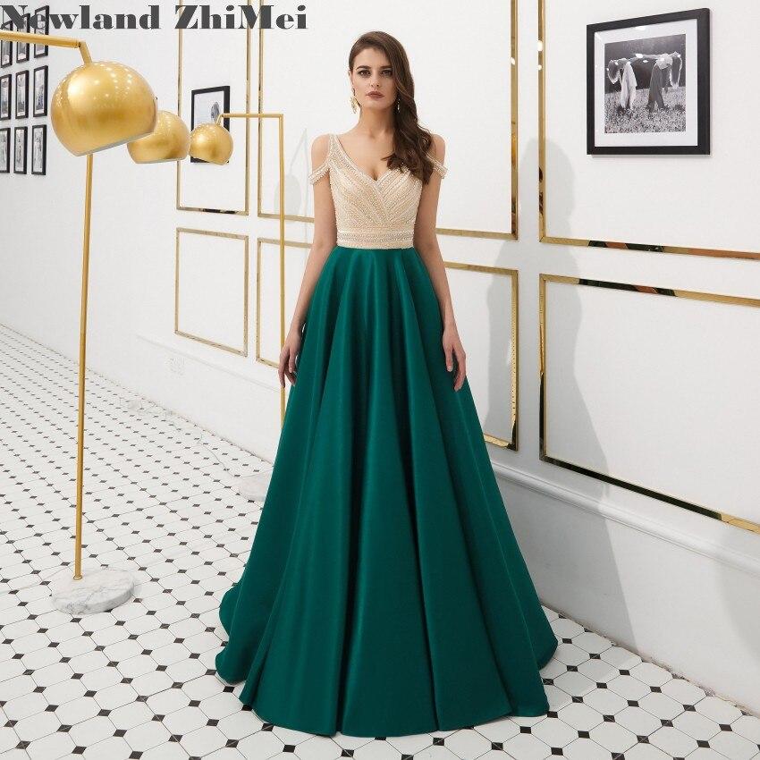 Newland ZhiMei robe de bal perles vert émeraude meilleure vente une ligne col en V longue Satin femme robes de soirée thème de fête musulmane
