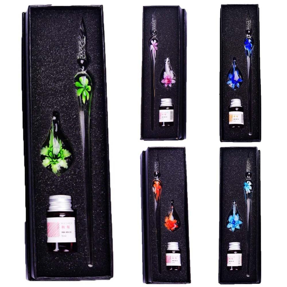 Kreative Handgemachte Glas Stifte Blume Muster Transparent Brunnen Stift Geschenk Set Farbe Tinte Farbe Test Wasser Zeichen Kreide Flash Comics