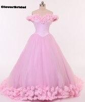ارتفع رومانسية كمية كبيرة الزهور الفيروز سندريلا فساتين quinceanera تول قبالة الكتف قطار طويل الوردي الكرة ثوب