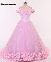 Romantic large quantity rose flowers turquoise cinderella quinceanera dresses tulle off the shoulder long train pink ball gown