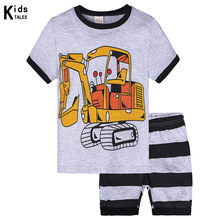 Summer children clothing set excavator pattern boys summer top+shorts 2Pcs/set kids casual sport suit outfit
