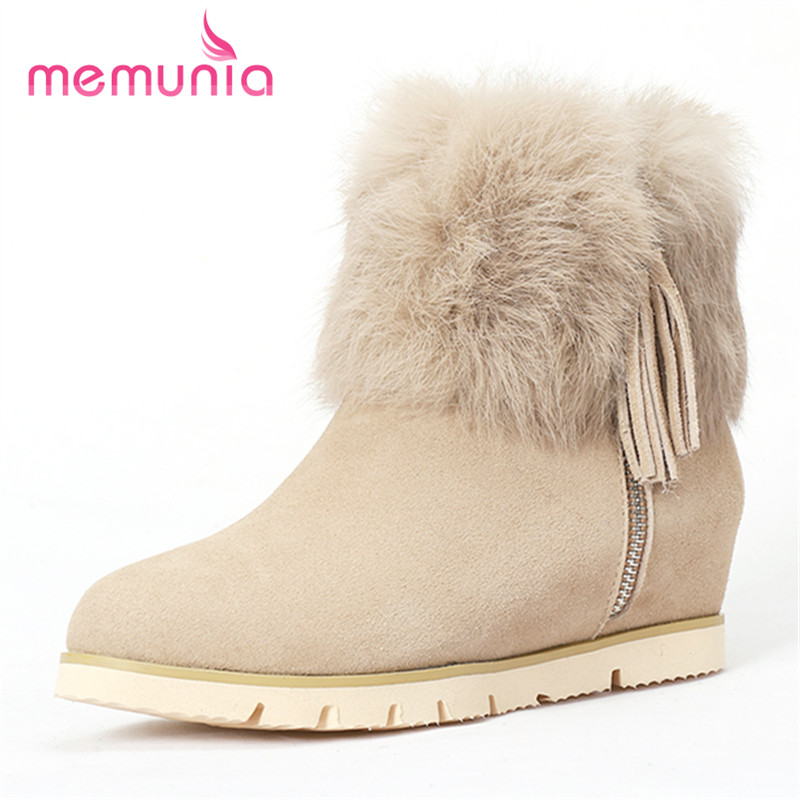 ФОТО MEMUNIA Fashion boots popular ankle boots for women tassel solid height increasing autumn winter boots flat shoes office lady