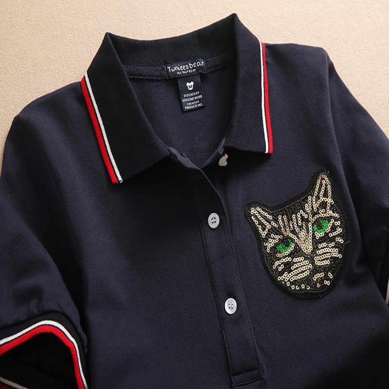 Fashion Slim Embroidery Polo 2019 Sequined Cat Print Party T Shirt Dress Casual Summer Cotton Vestidos Mini Women Tshirt Dresses