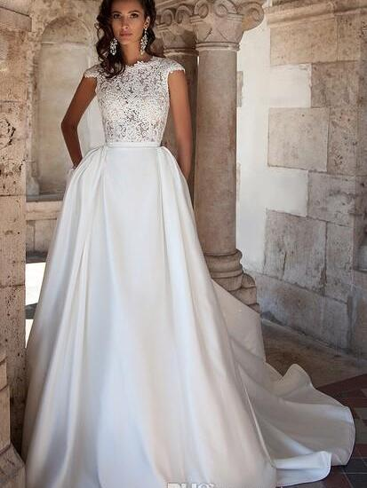 2016 Plus Size Maternity Wedding Dress Pockets Discount A Line Vintage Lace Cap Sleeves Backless White