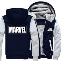 USA Size Men Women Marvel Zipper Jacket Sweatshirts Thicken Hoodie Coat Clothing Casual